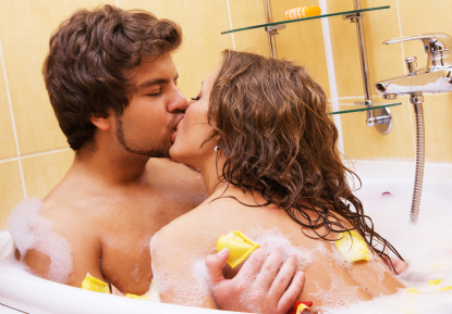 Beautiful young couple enjoying a bath